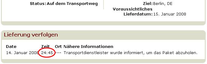 Amazon. 24 Uhr 45. Transportdienstleister informiert.