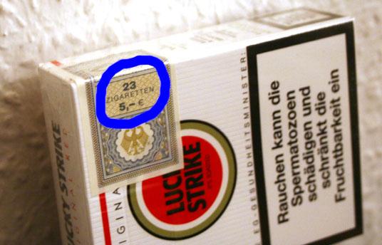 23 Zigaretten, 5 Euro